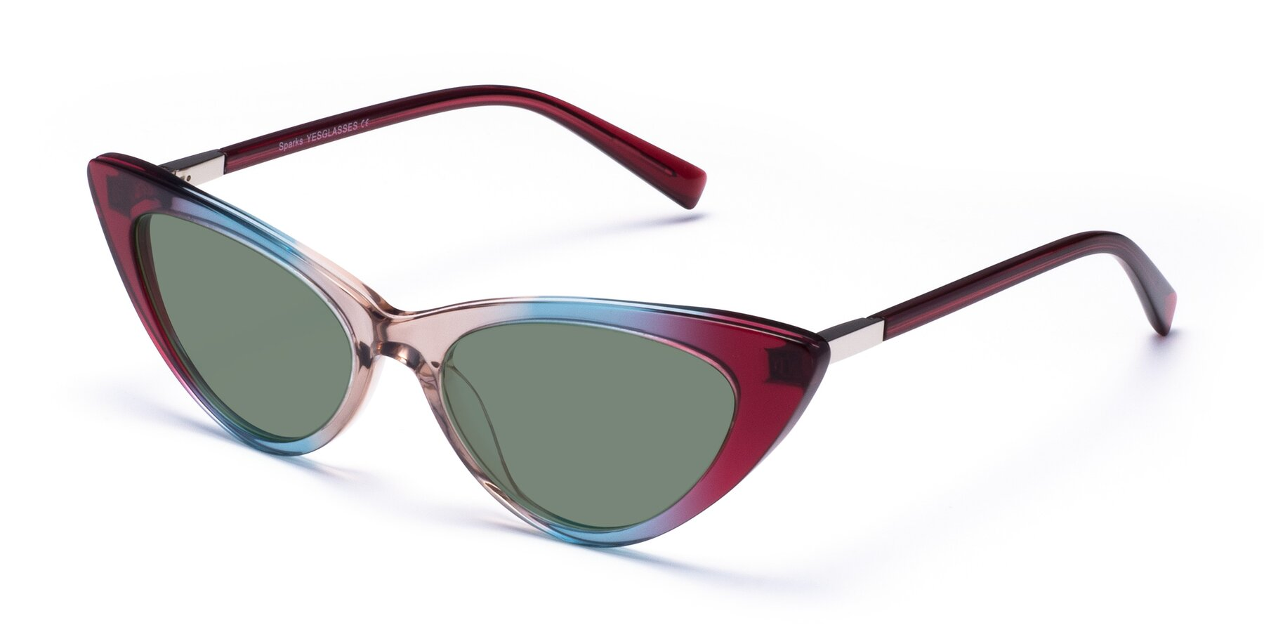 Angle of Sparks in Transparent Gradient Purple with Medium Green Tinted Lenses
