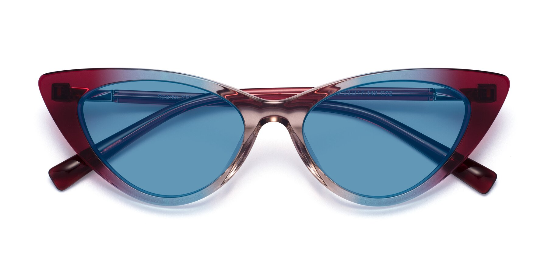 Folded Front of Sparks in Transparent Gradient Purple with Medium Blue Tinted Lenses