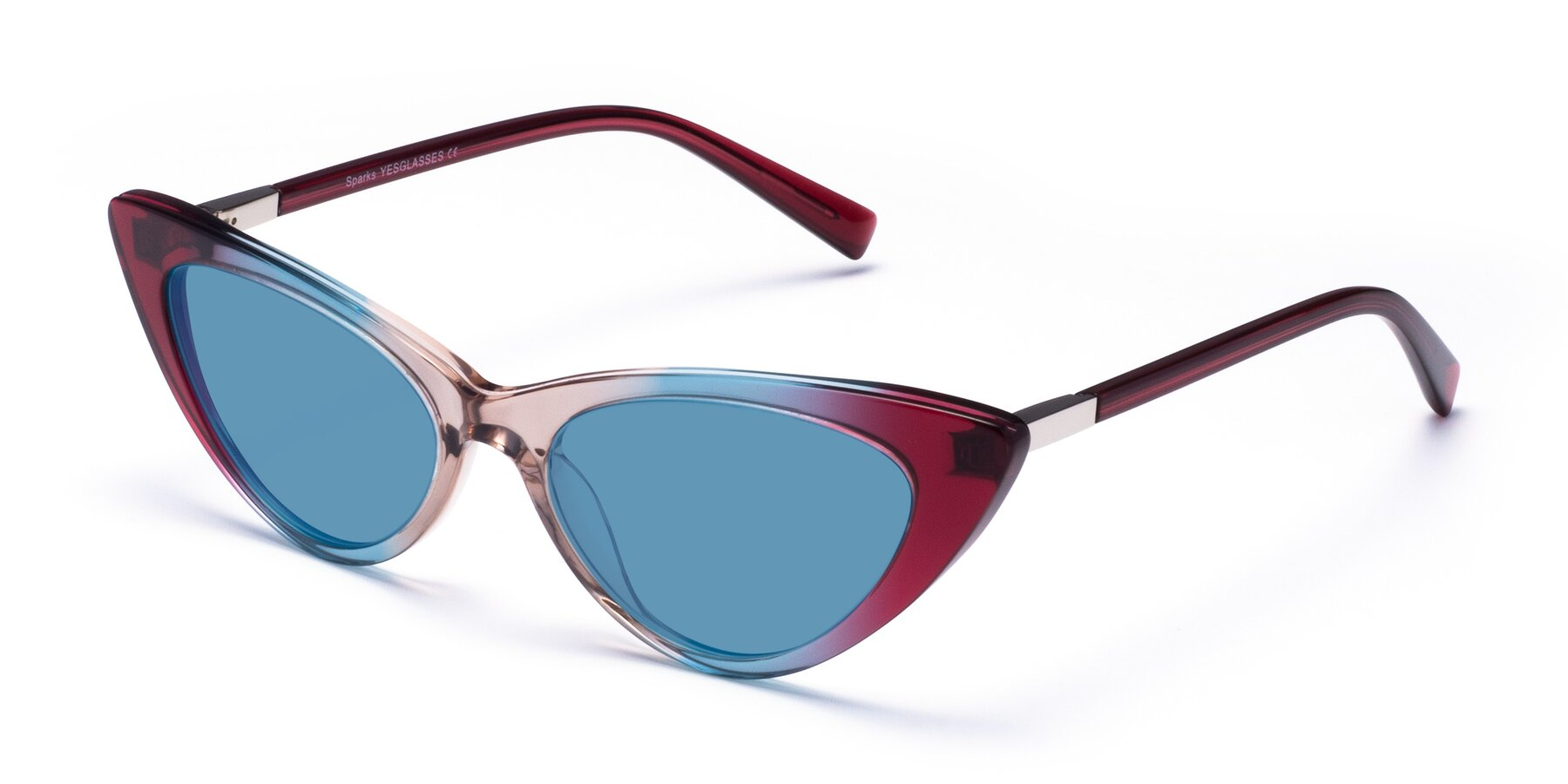 Angle of Sparks in Transparent Gradient Purple with Medium Blue Tinted Lenses