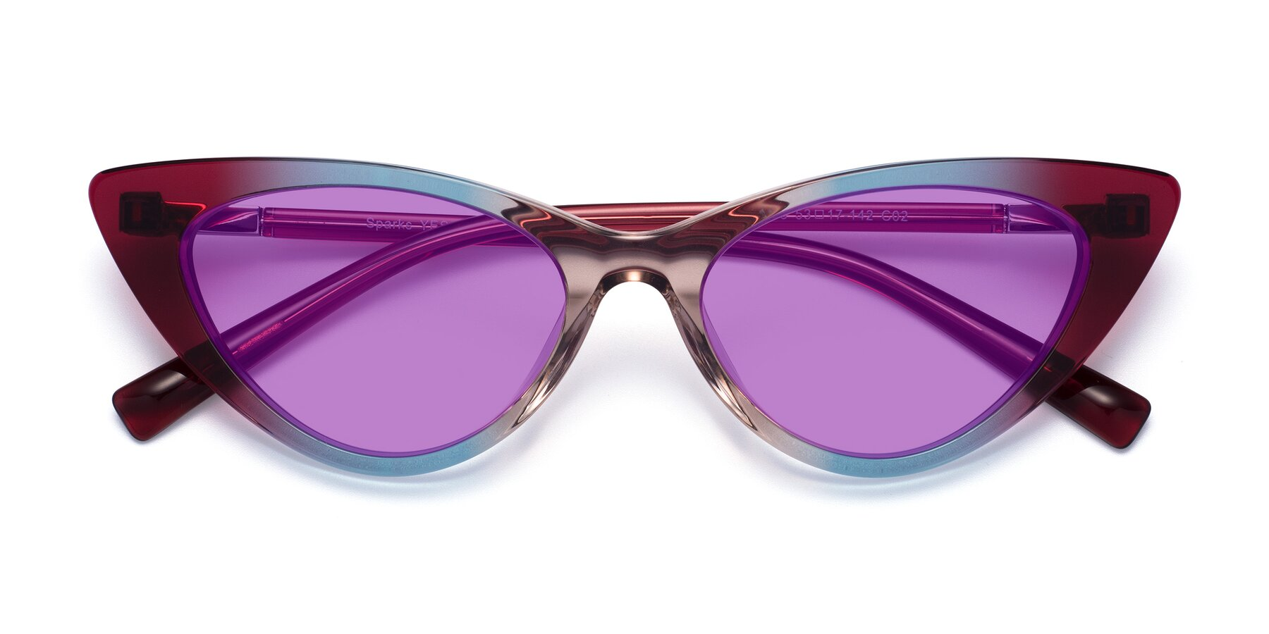 Folded Front of Sparks in Transparent Gradient Purple with Medium Purple Tinted Lenses