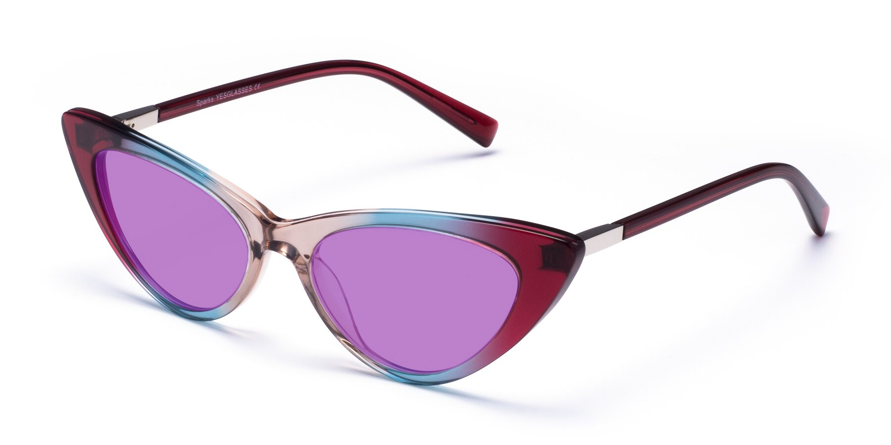 Angle of Sparks in Transparent Gradient Purple with Medium Purple Tinted Lenses