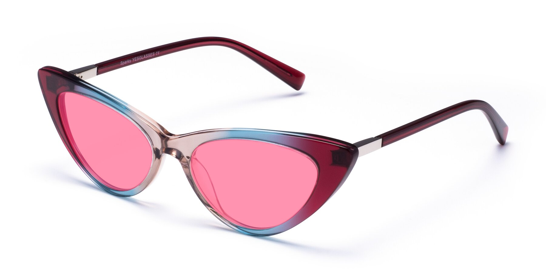 Angle of Sparks in Transparent Gradient Purple with Pink Tinted Lenses