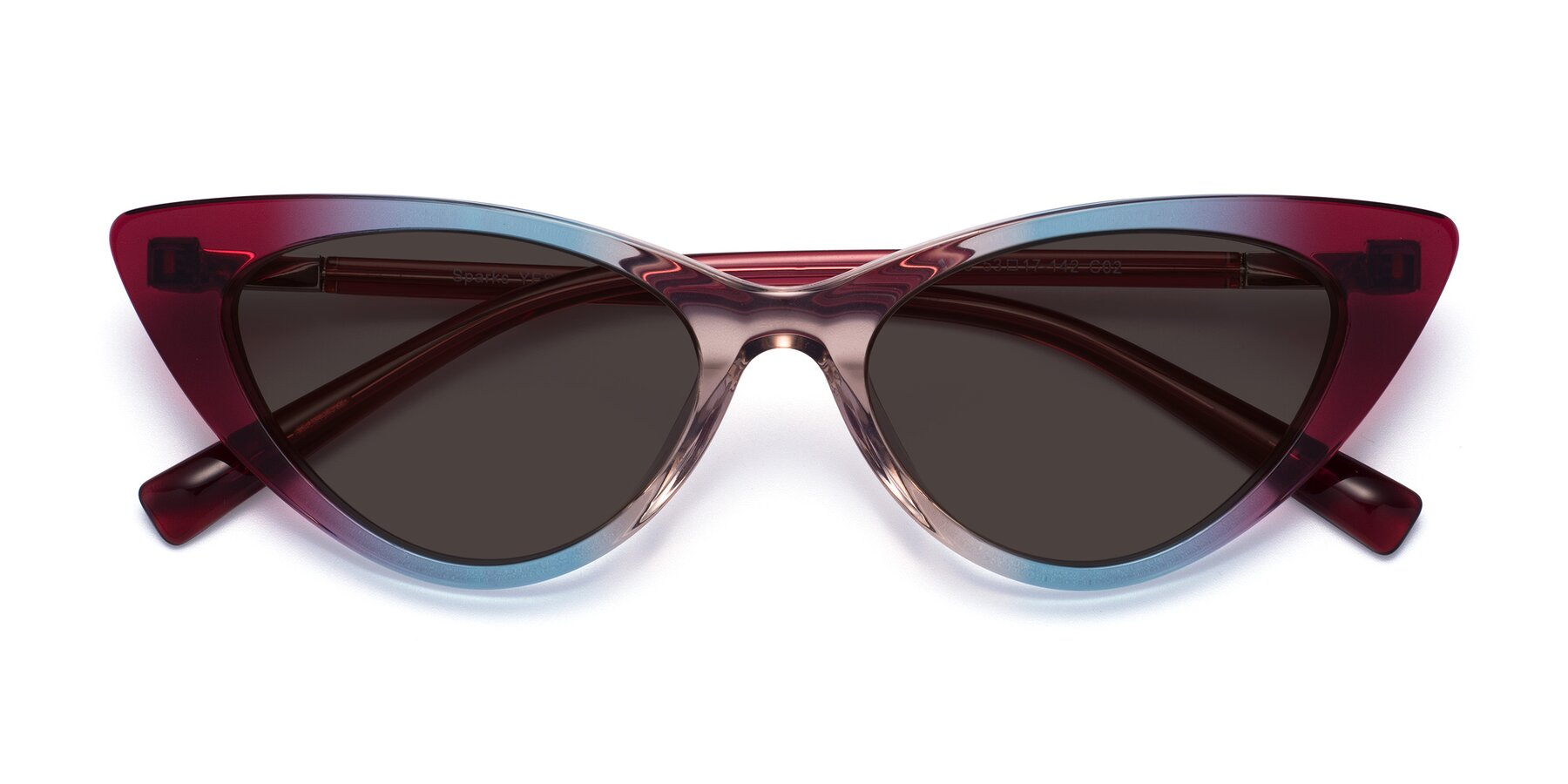 Folded Front of Sparks in Transparent Gradient Purple with Gray Tinted Lenses