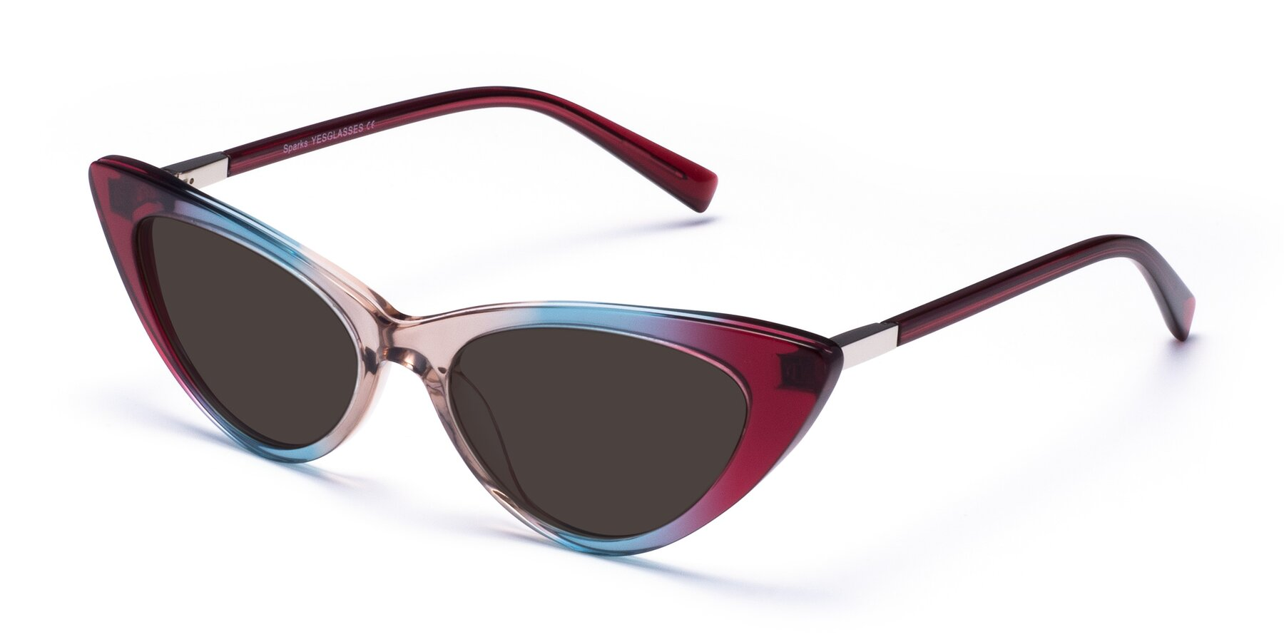 Angle of Sparks in Transparent Gradient Purple with Gray Tinted Lenses