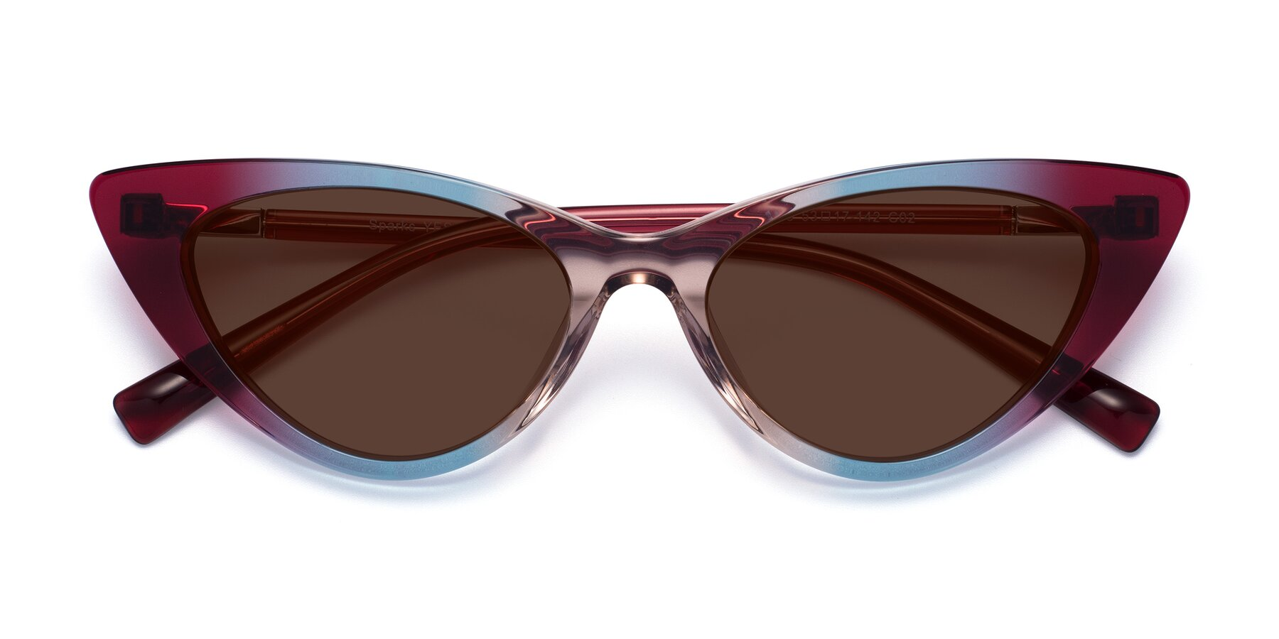 Folded Front of Sparks in Transparent Gradient Purple with Brown Tinted Lenses