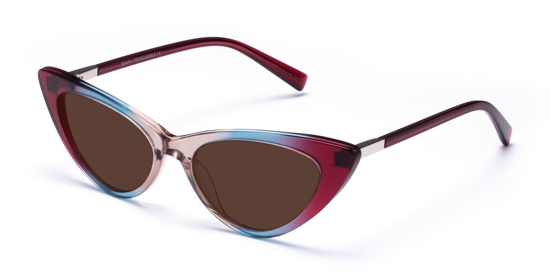 Angle of Sparks in Transparent Gradient Purple with Brown Tinted Lenses