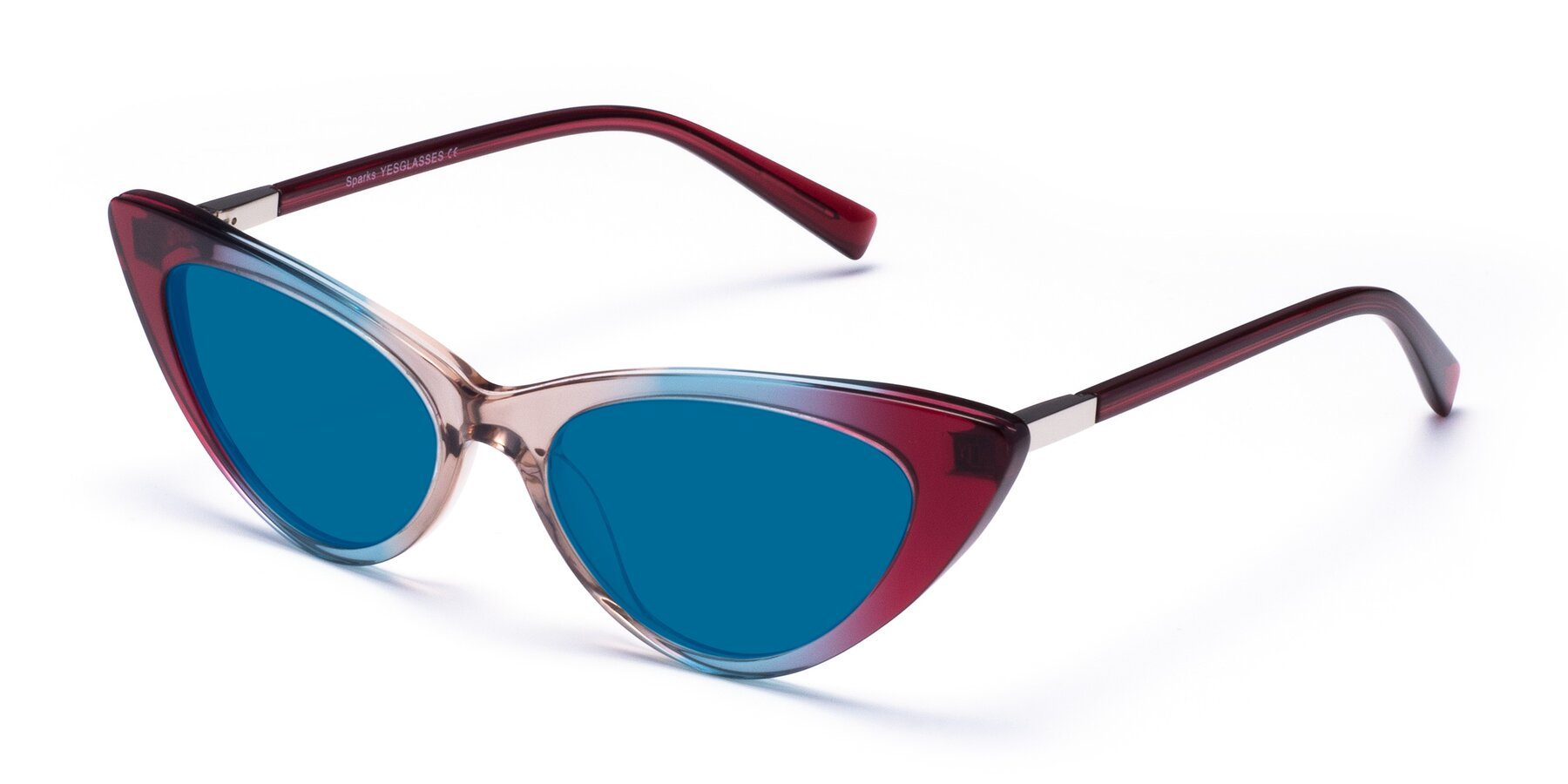 Angle of Sparks in Transparent Gradient Purple with Blue Tinted Lenses
