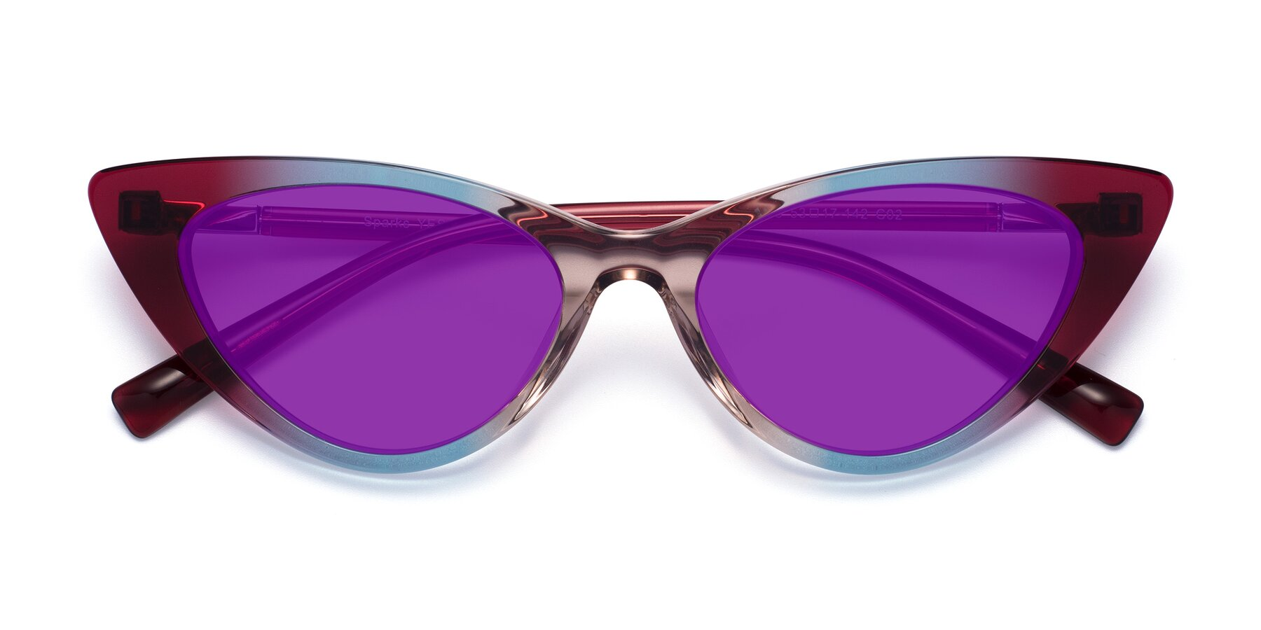 Folded Front of Sparks in Transparent Gradient Purple with Purple Tinted Lenses
