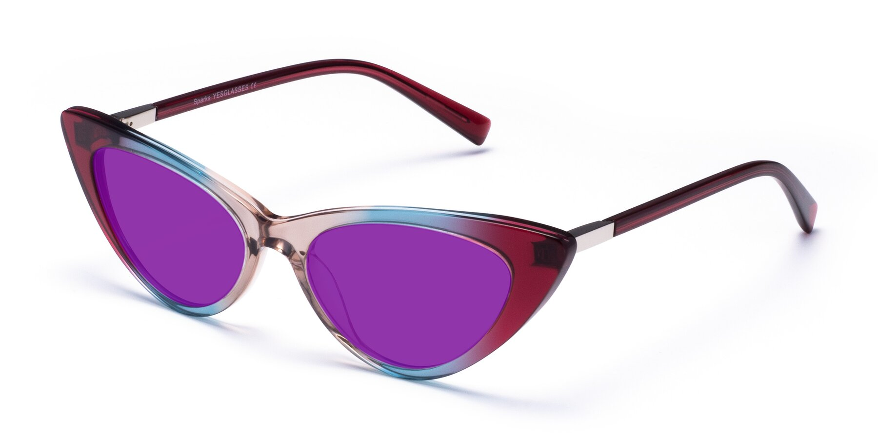 Angle of Sparks in Transparent Gradient Purple with Purple Tinted Lenses