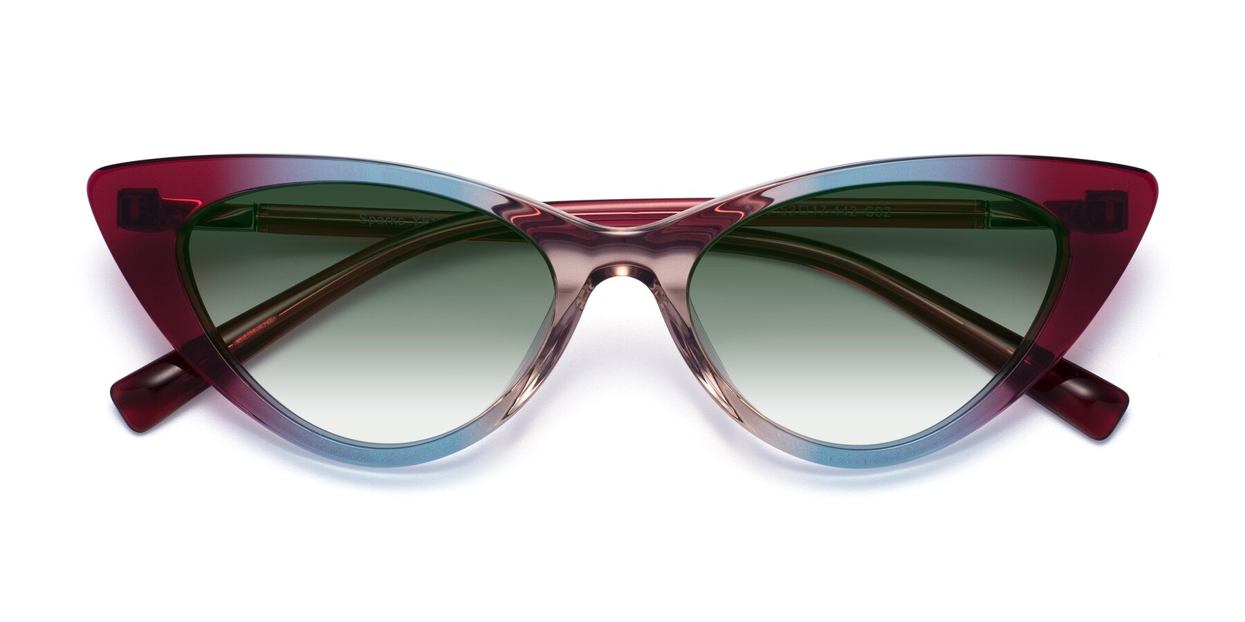 Folded Front of Sparks in Transparent Gradient Purple with Green Gradient Lenses