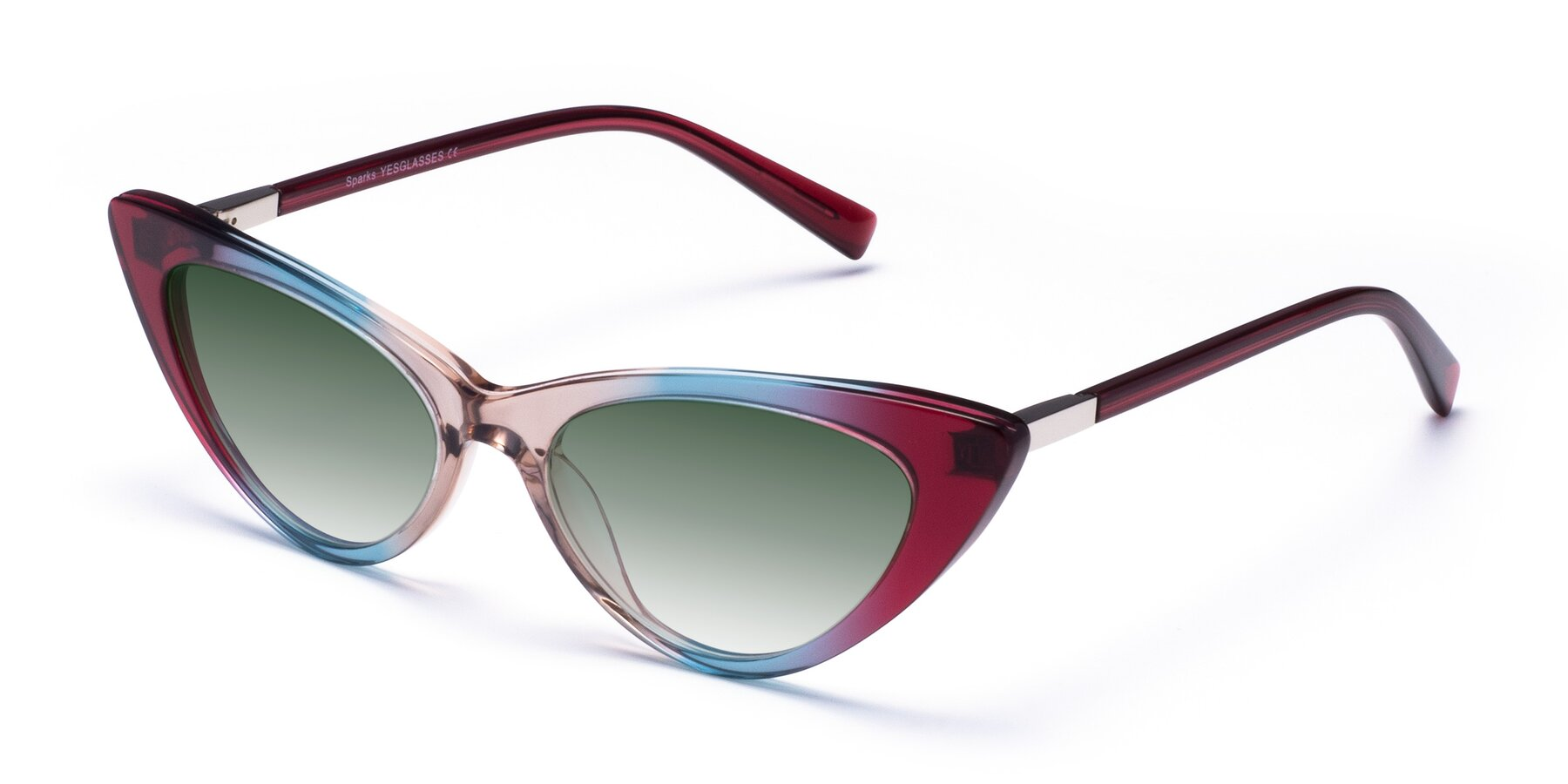 Angle of Sparks in Transparent Gradient Purple with Green Gradient Lenses