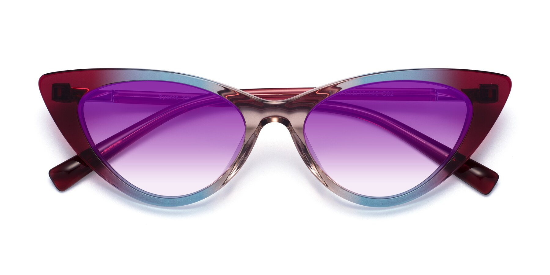 Folded Front of Sparks in Transparent Gradient Purple with Purple Gradient Lenses