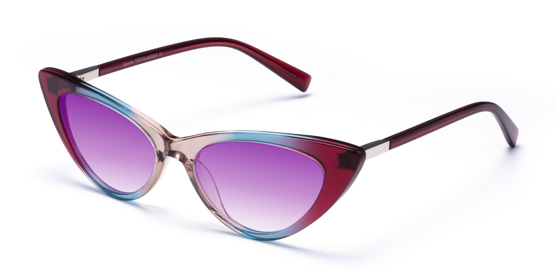 Angle of Sparks in Transparent Gradient Purple with Purple Gradient Lenses