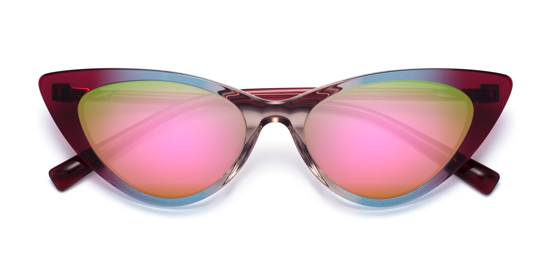 Folded Front of Sparks in Transparent Gradient Purple with Pink Mirrored Lenses