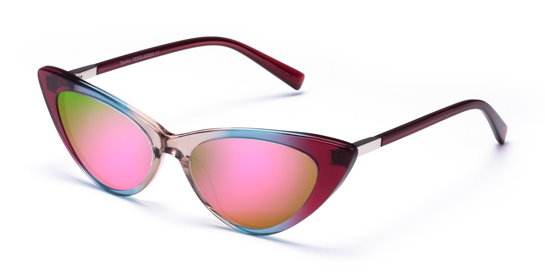 Angle of Sparks in Transparent Gradient Purple with Pink Mirrored Lenses
