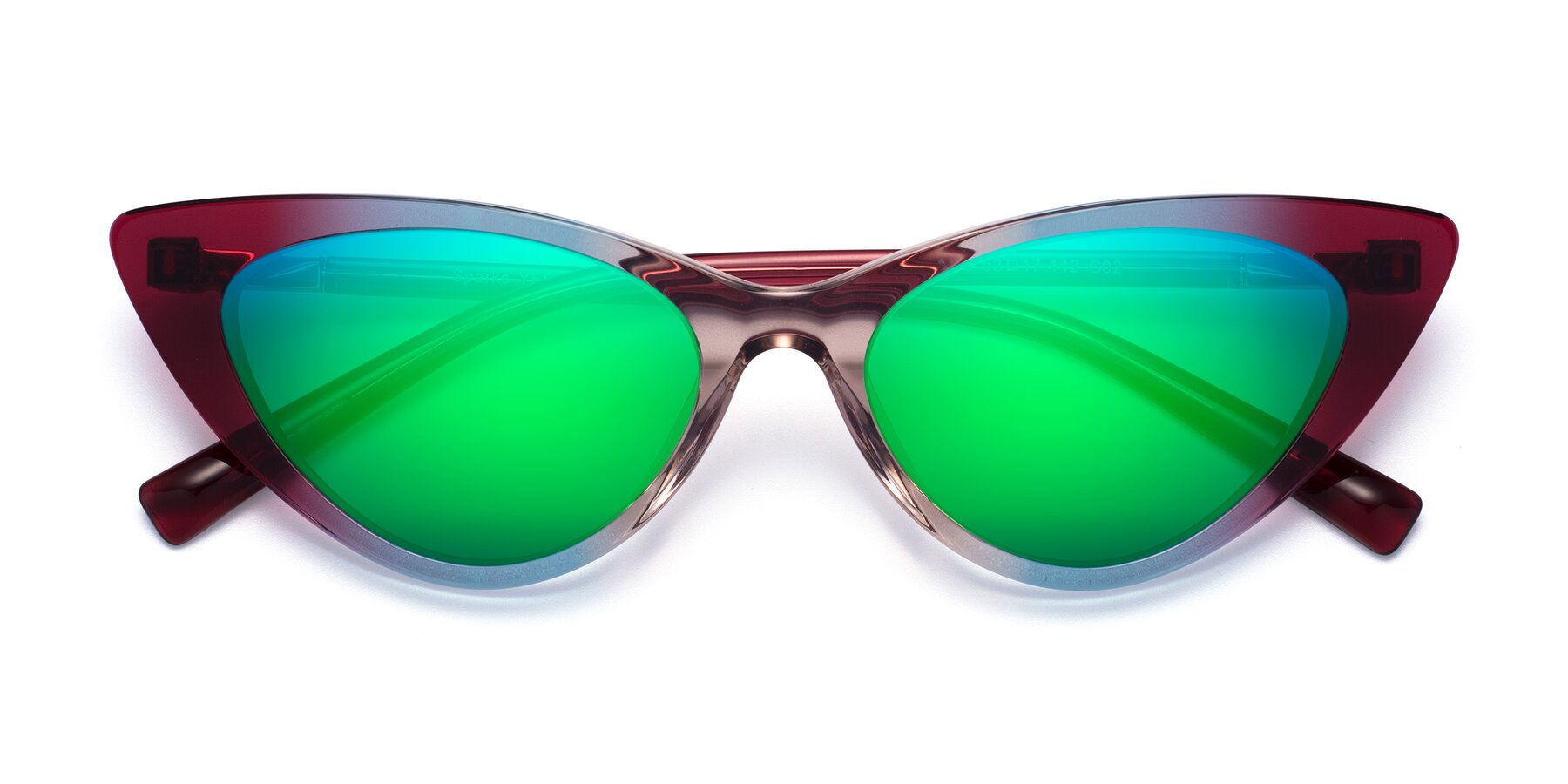 Folded Front of Sparks in Transparent Gradient Purple with Green Mirrored Lenses