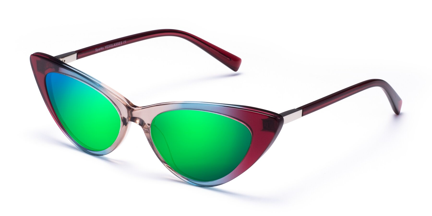 Angle of Sparks in Transparent Gradient Purple with Green Mirrored Lenses