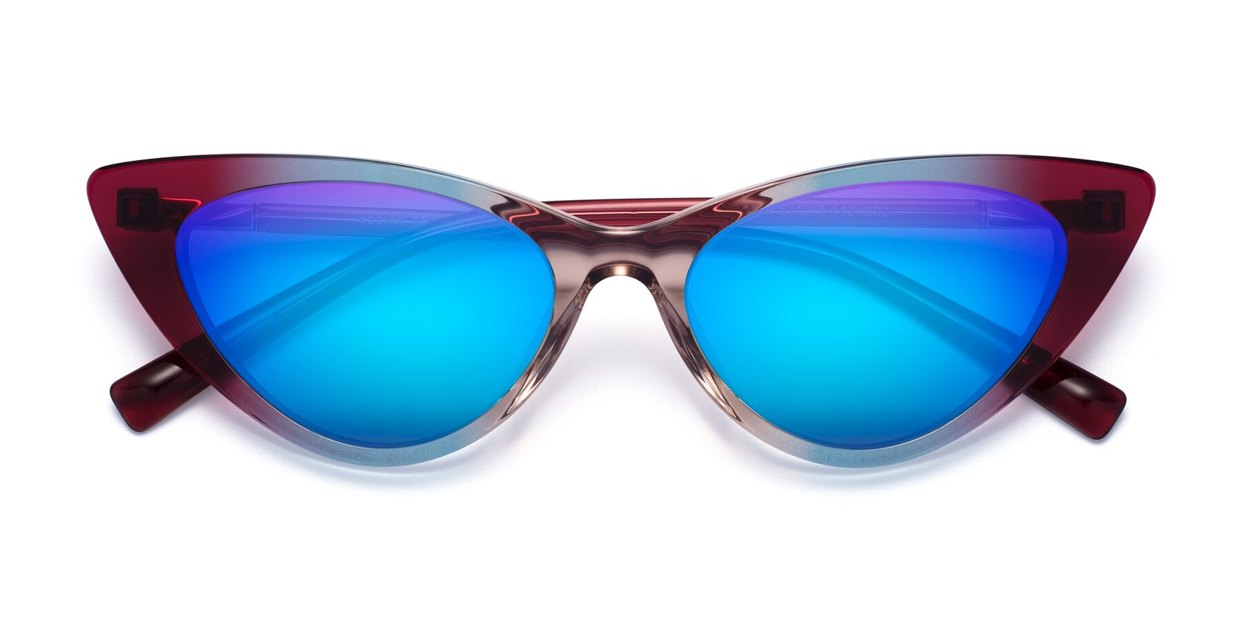Folded Front of Sparks in Transparent Gradient Purple with Blue Mirrored Lenses
