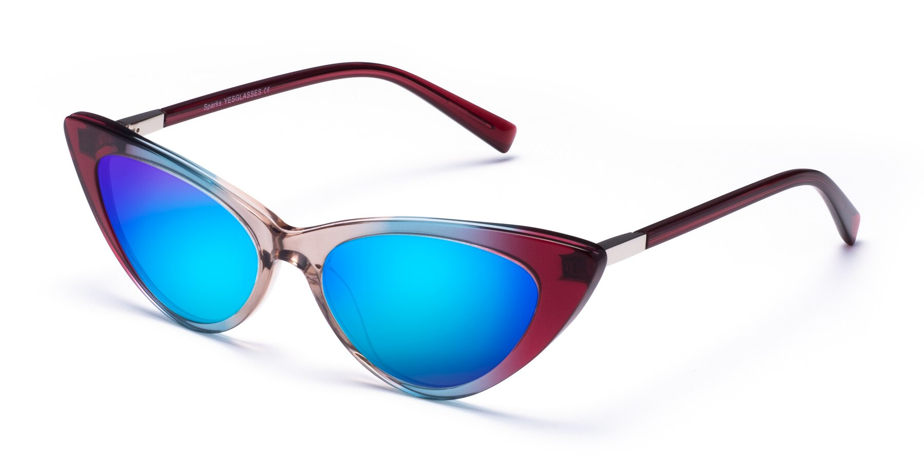 Angle of Sparks in Transparent Gradient Purple with Blue Mirrored Lenses