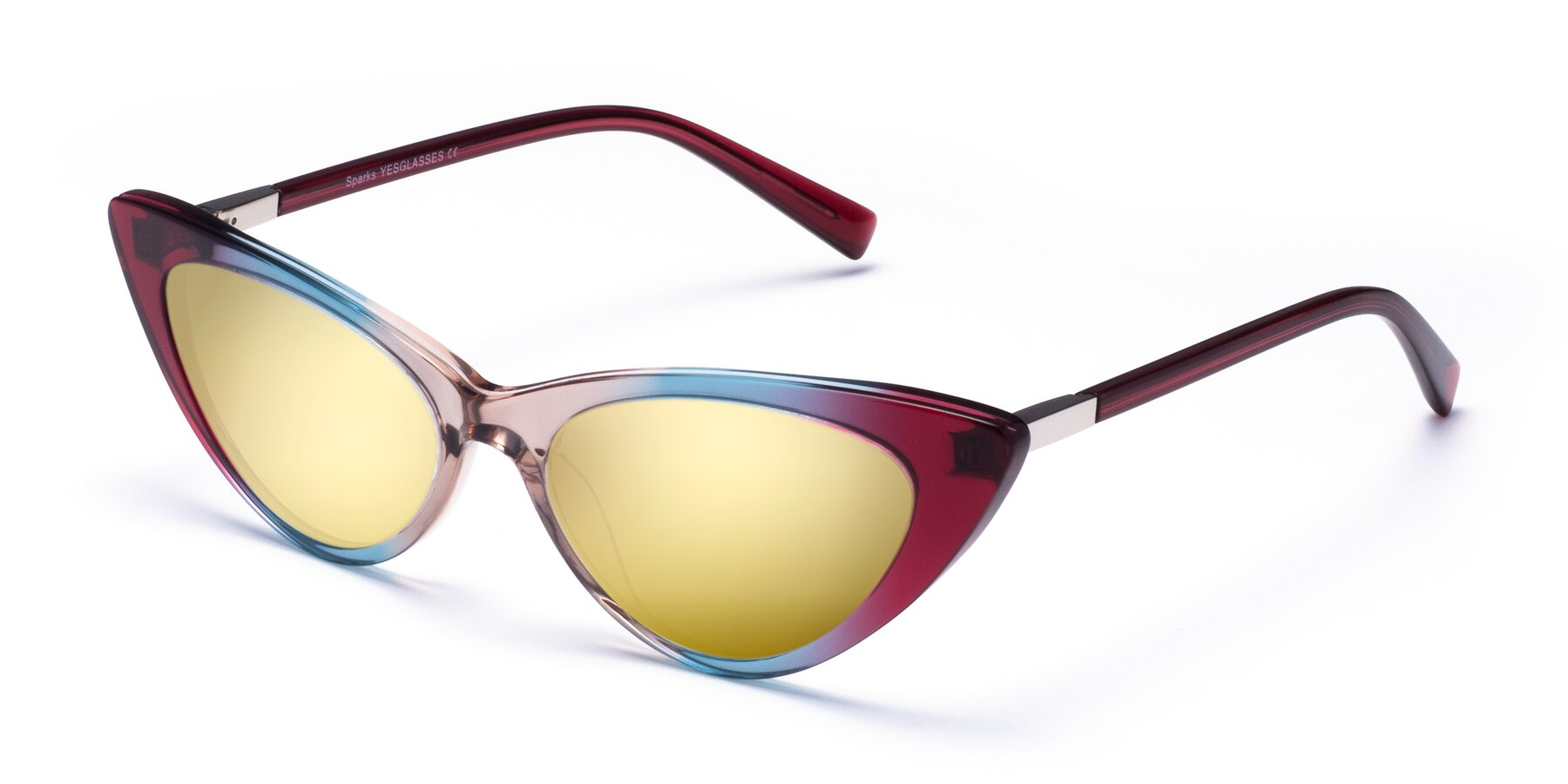 Angle of Sparks in Transparent Gradient Purple with Gold Mirrored Lenses