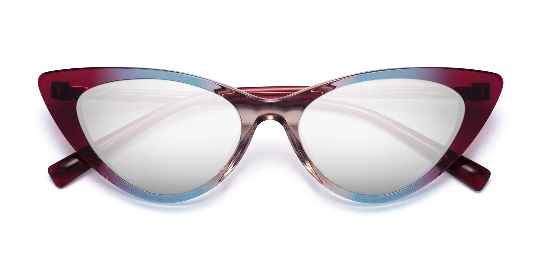 Folded Front of Sparks in Transparent Gradient Purple with Silver Mirrored Lenses
