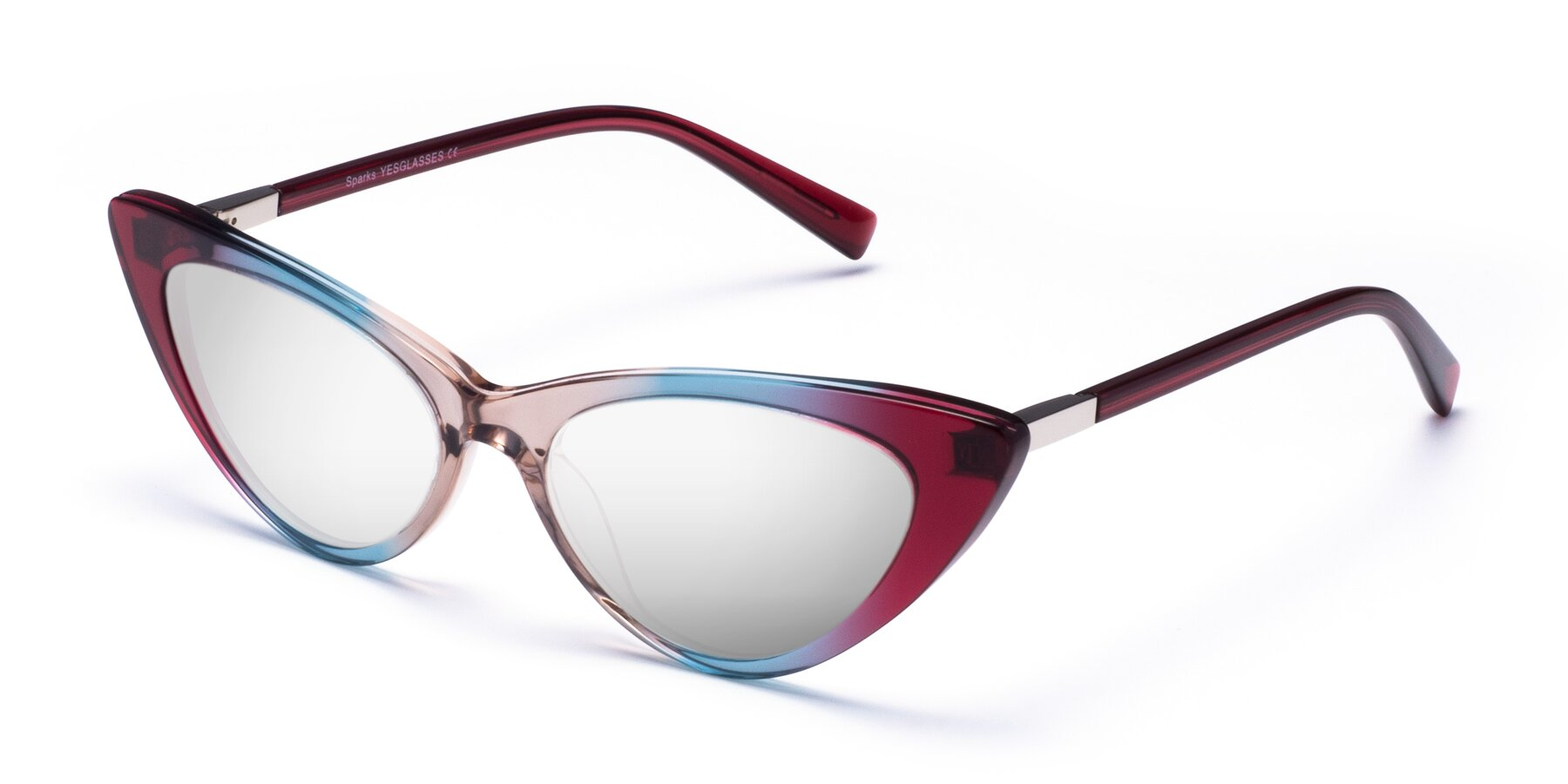 Angle of Sparks in Transparent Gradient Purple with Silver Mirrored Lenses