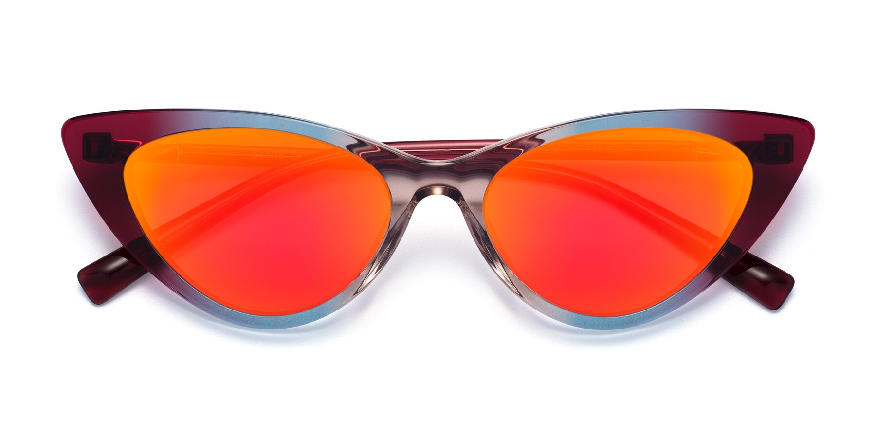 Folded Front of Sparks in Transparent Gradient Purple with Red Gold Mirrored Lenses