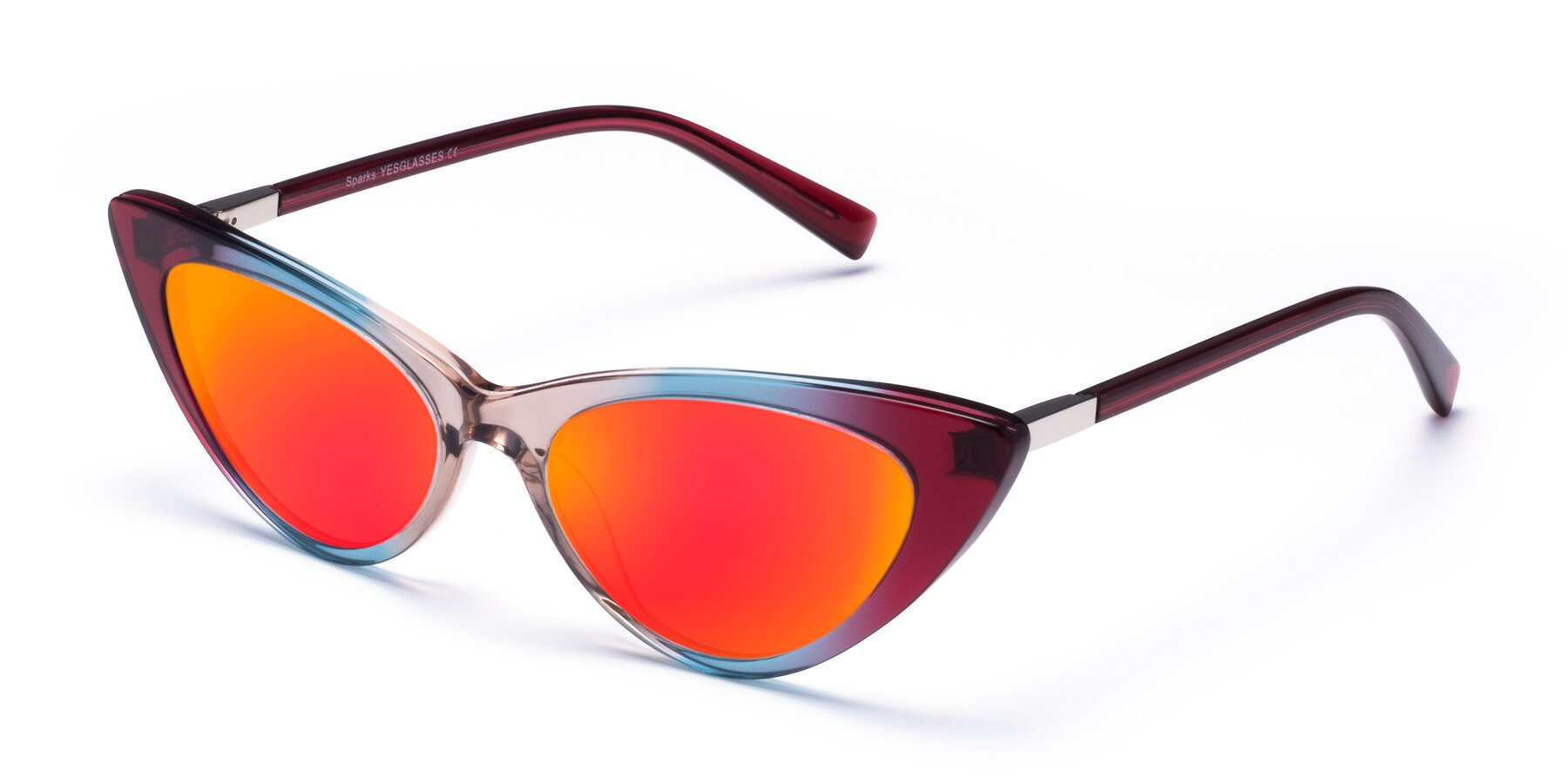 Angle of Sparks in Transparent Gradient Purple with Red Gold Mirrored Lenses