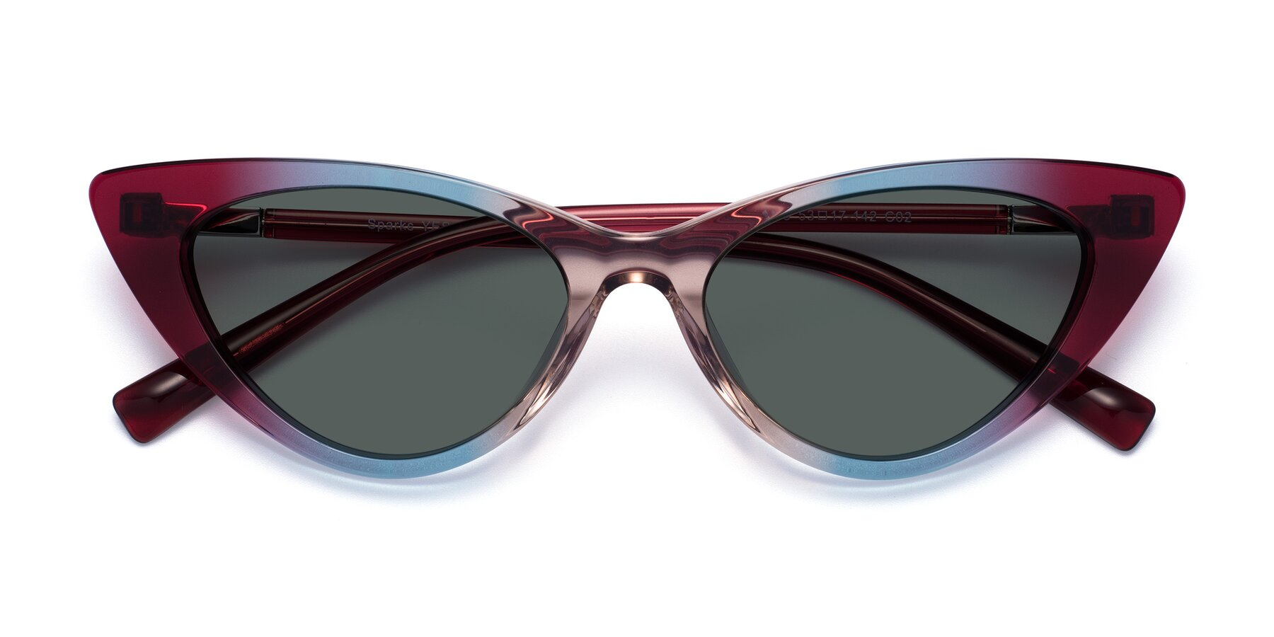 Folded Front of Sparks in Transparent Gradient Purple with Gray Polarized Lenses