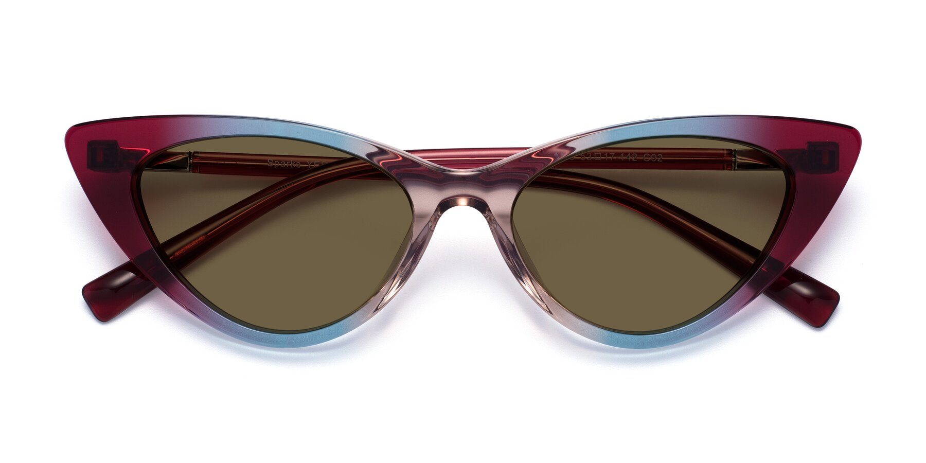 Folded Front of Sparks in Transparent Gradient Purple with Brown Polarized Lenses