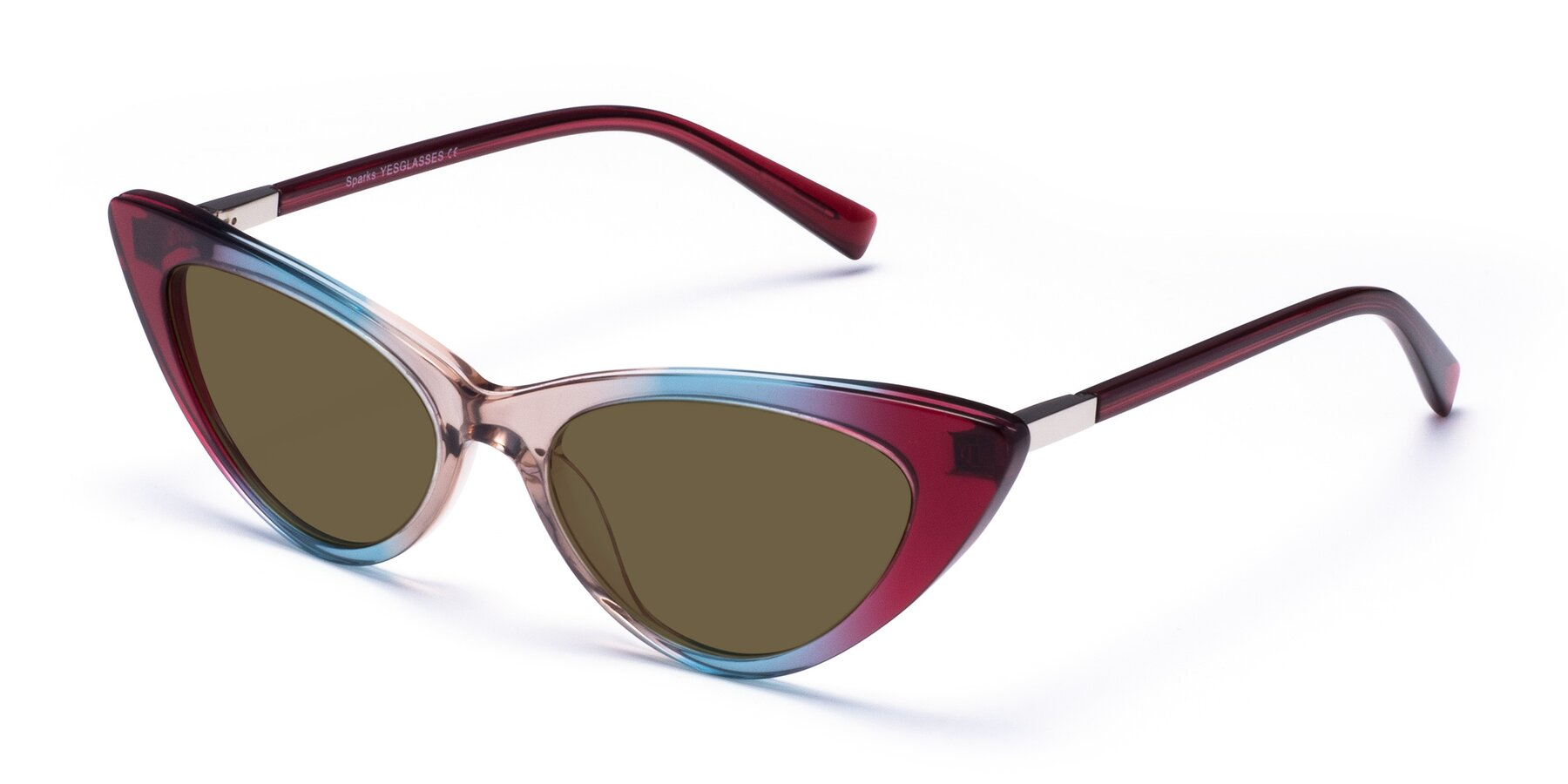 Angle of Sparks in Transparent Gradient Purple with Brown Polarized Lenses