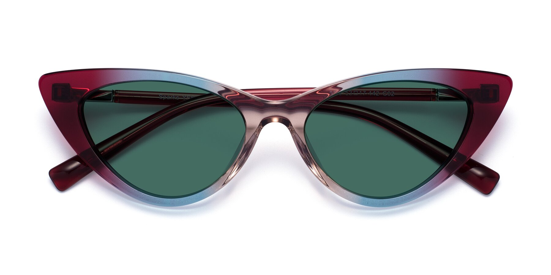 Folded Front of Sparks in Transparent Gradient Purple with Green Polarized Lenses