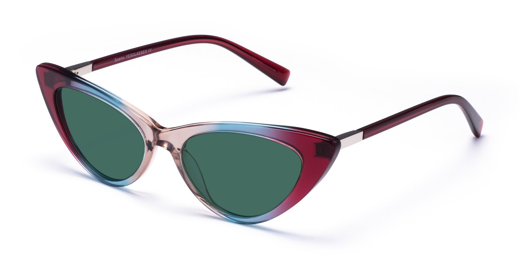 Angle of Sparks in Transparent Gradient Purple with Green Polarized Lenses