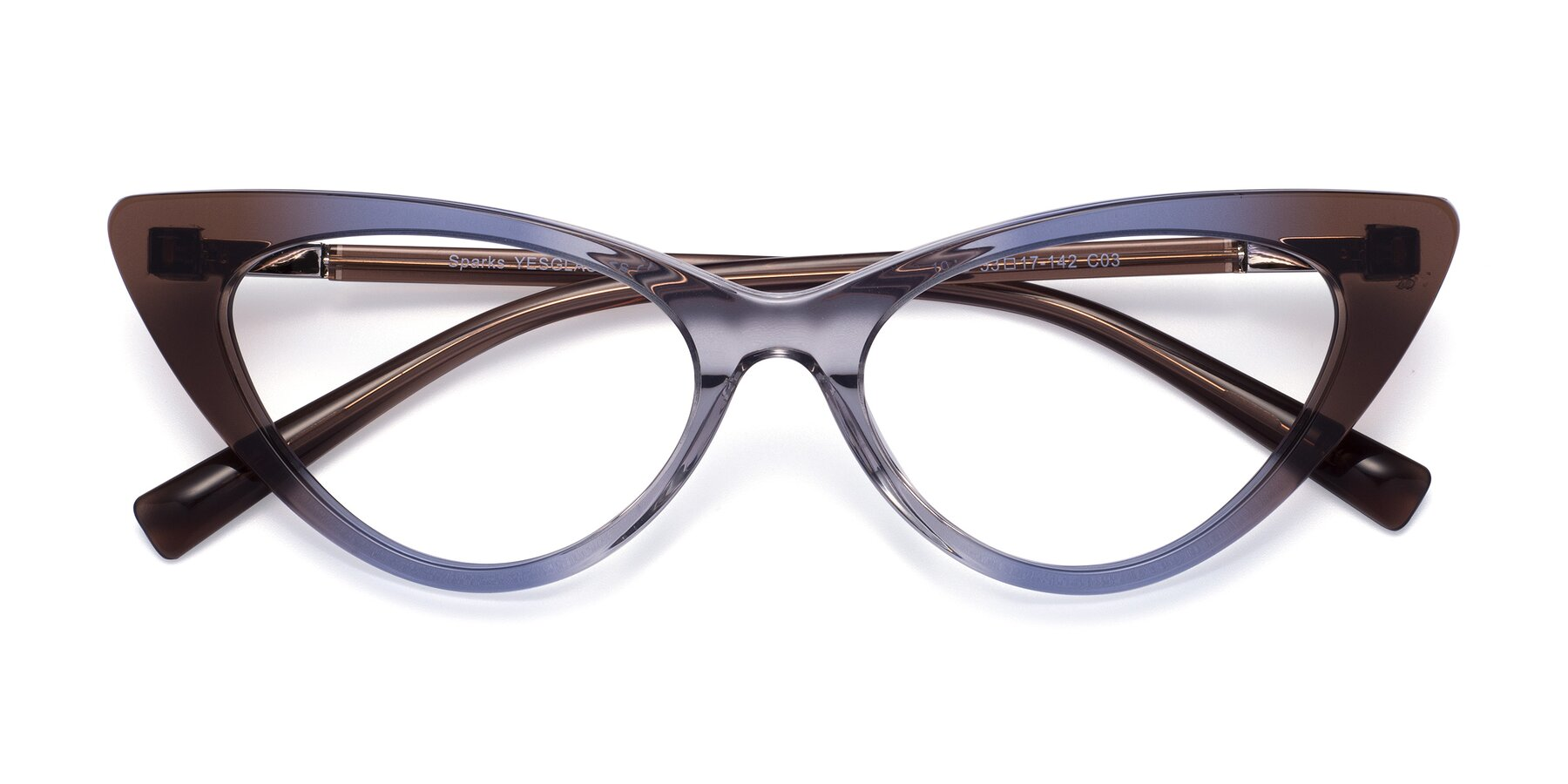 Folded Front of Sparks in Transparent Gradient Brown with Clear Eyeglass Lenses