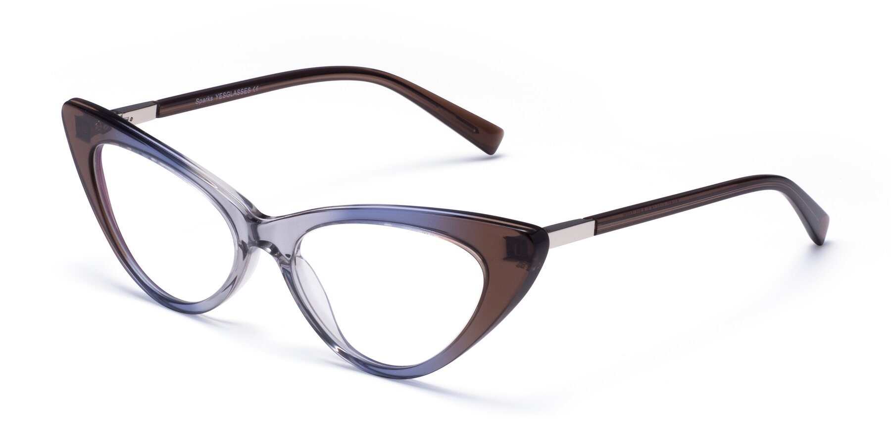 Angle of Sparks in Transparent Gradient Brown with Clear Eyeglass Lenses