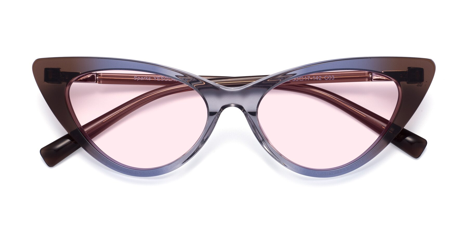 Folded Front of Sparks in Transparent Gradient Brown with Light Pink Tinted Lenses