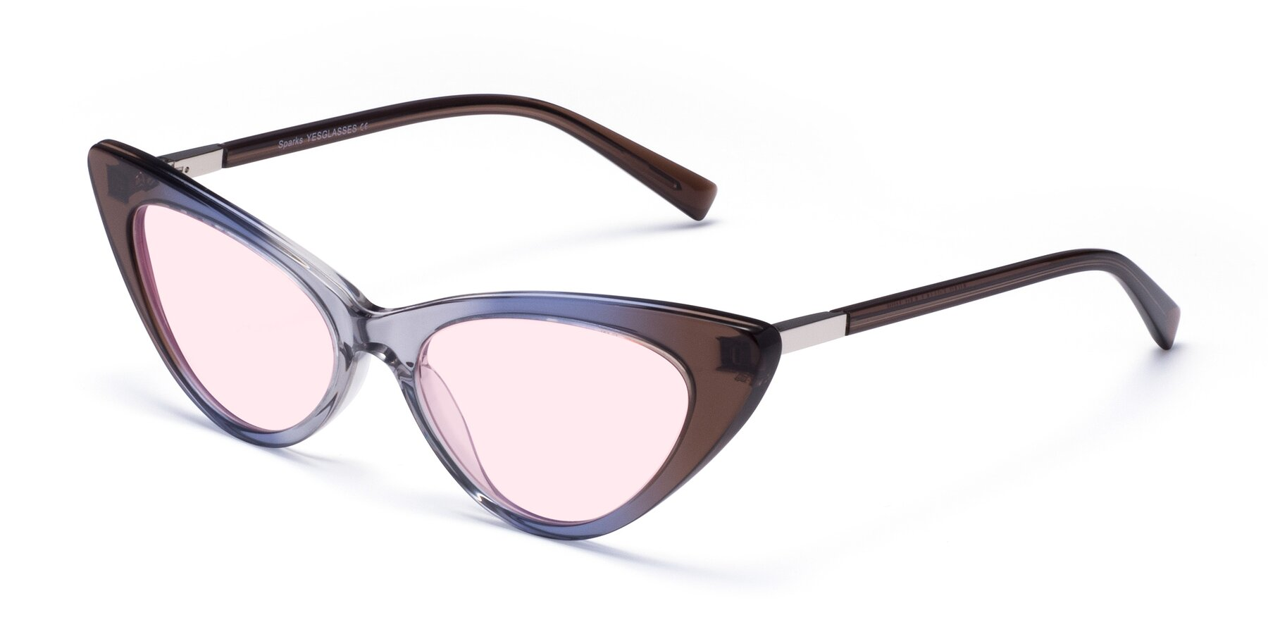 Angle of Sparks in Transparent Gradient Brown with Light Pink Tinted Lenses