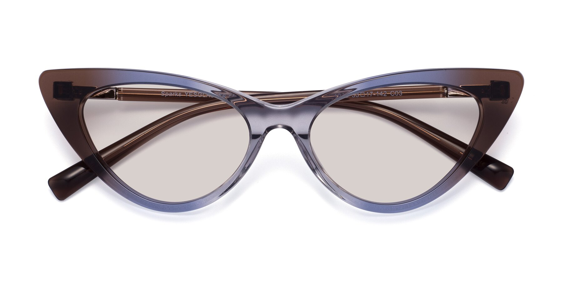 Folded Front of Sparks in Transparent Gradient Brown with Light Brown Tinted Lenses