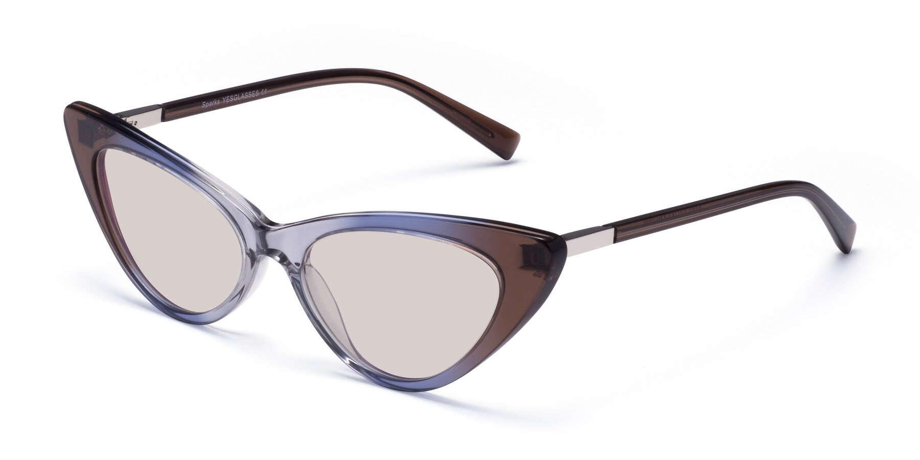 Angle of Sparks in Transparent Gradient Brown with Light Brown Tinted Lenses