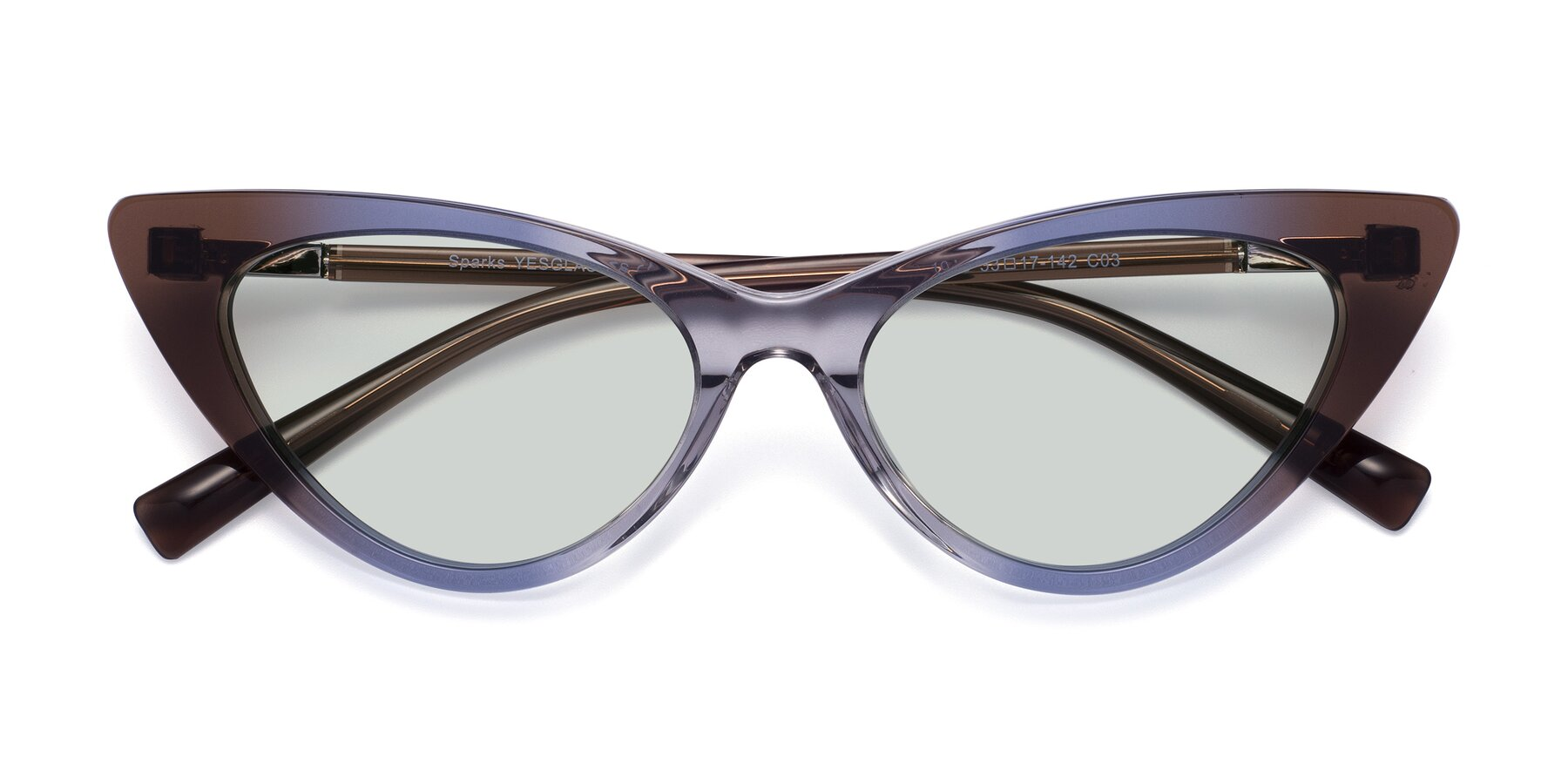 Folded Front of Sparks in Transparent Gradient Brown with Light Green Tinted Lenses