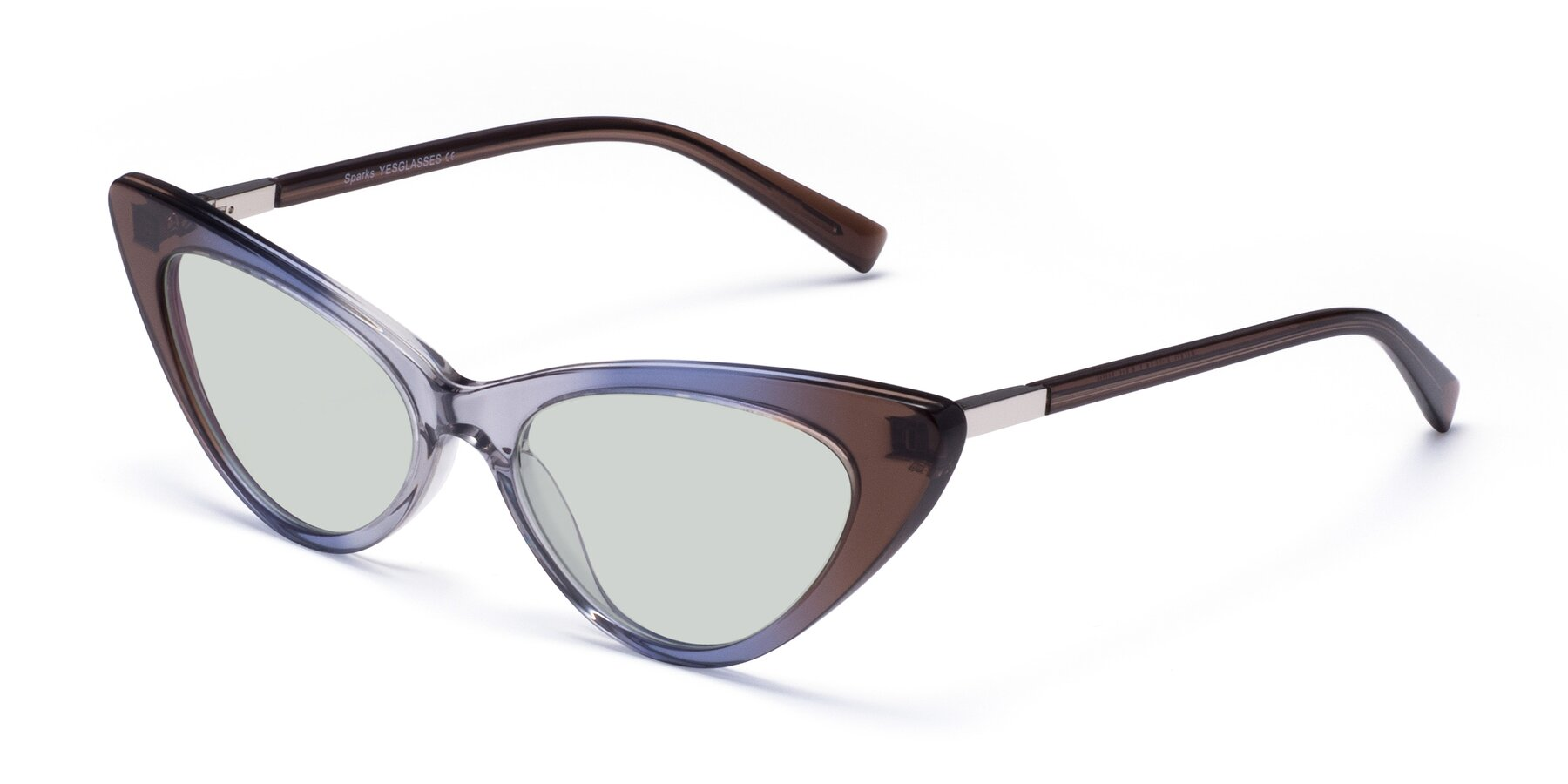 Angle of Sparks in Transparent Gradient Brown with Light Green Tinted Lenses