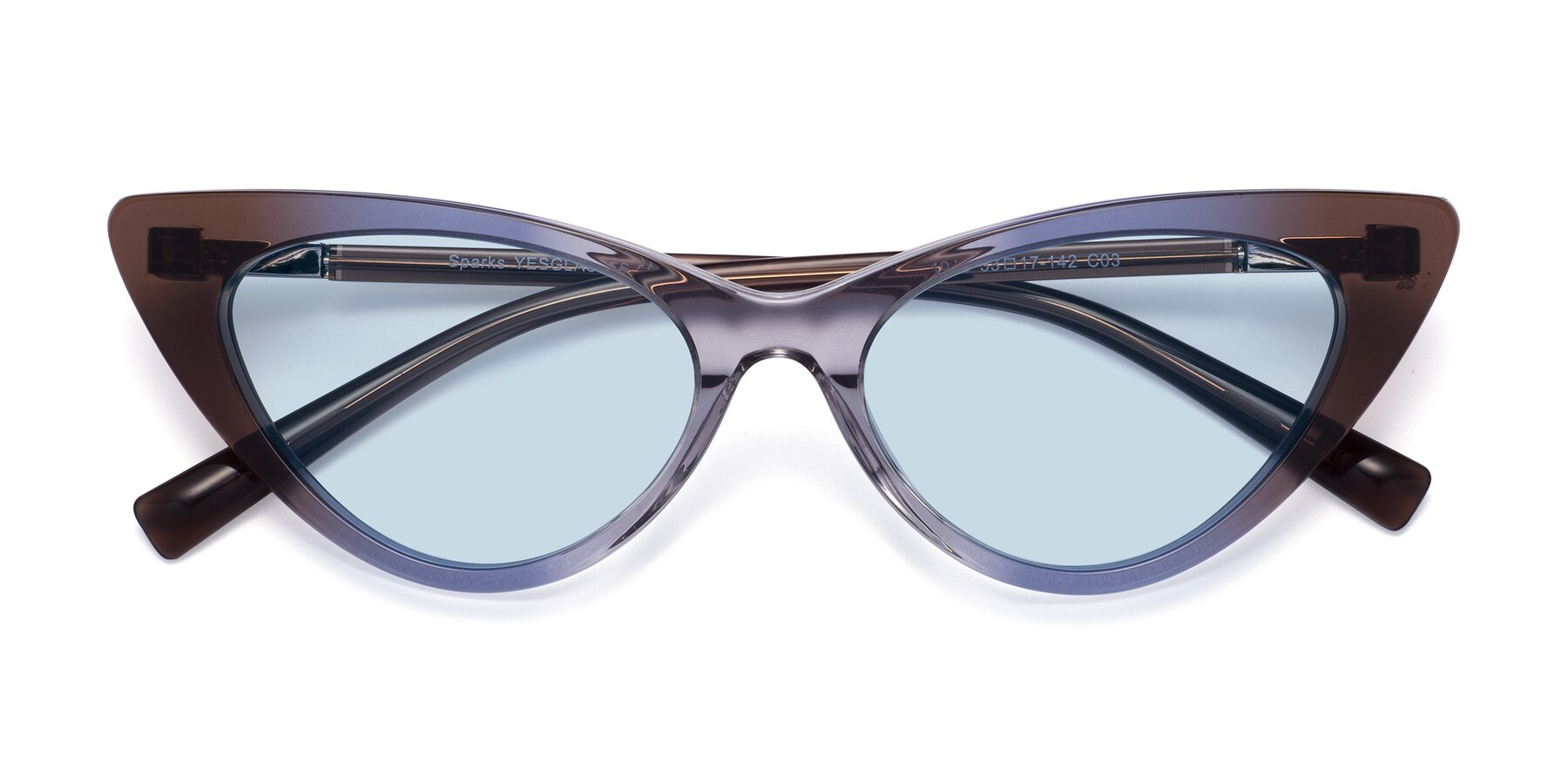 Folded Front of Sparks in Transparent Gradient Brown with Light Blue Tinted Lenses
