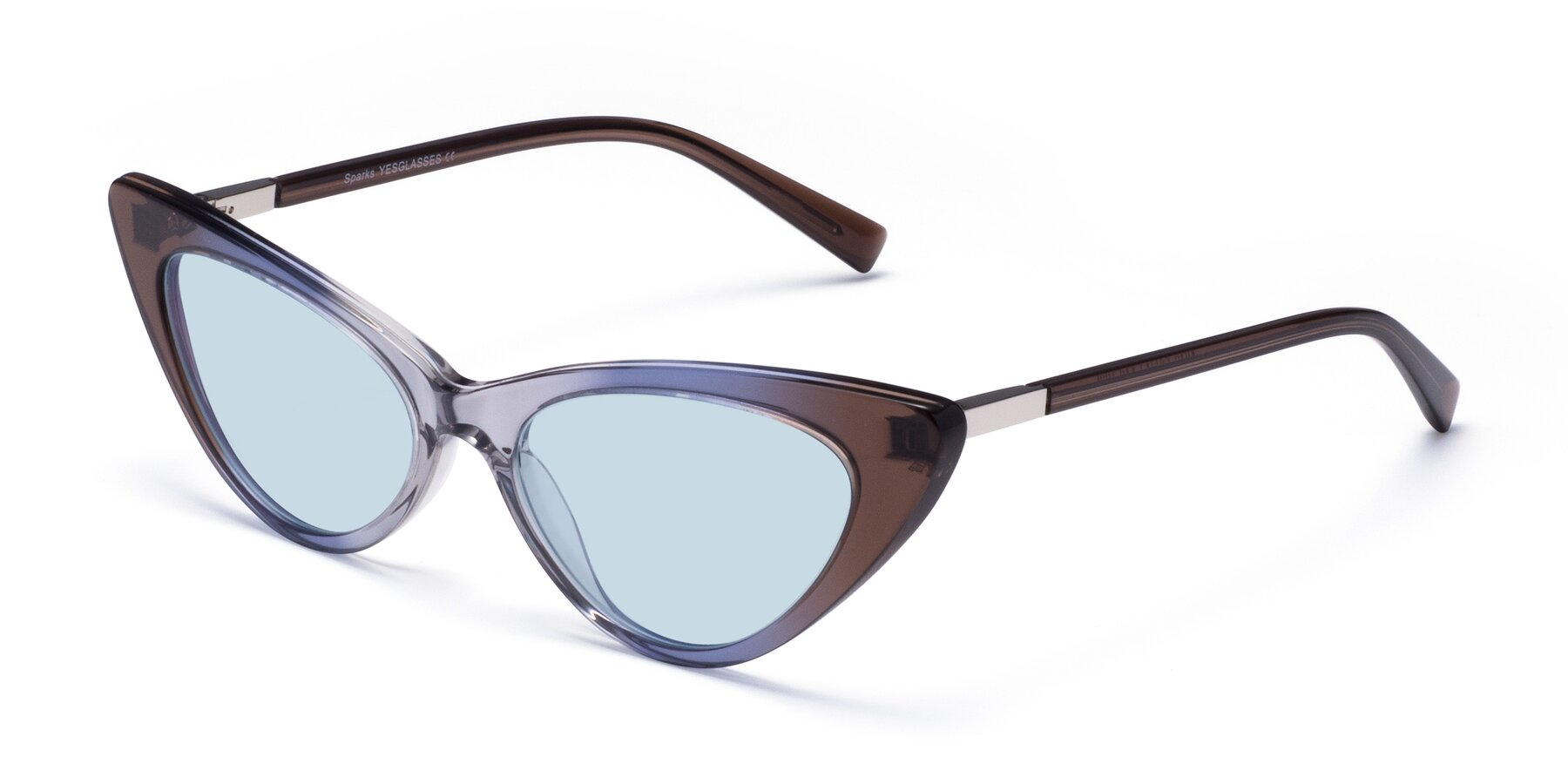 Angle of Sparks in Transparent Gradient Brown with Light Blue Tinted Lenses