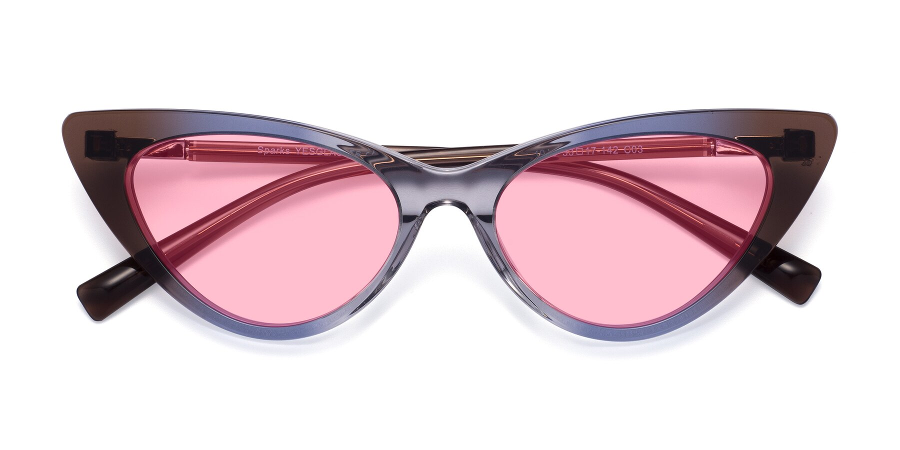 Folded Front of Sparks in Transparent Gradient Brown with Medium Pink Tinted Lenses