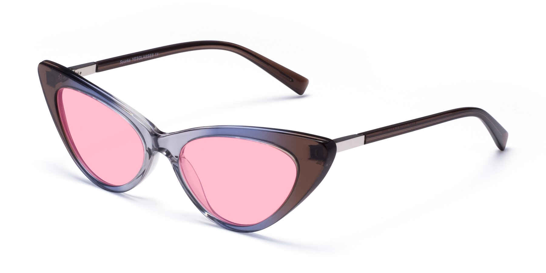 Angle of Sparks in Transparent Gradient Brown with Medium Pink Tinted Lenses