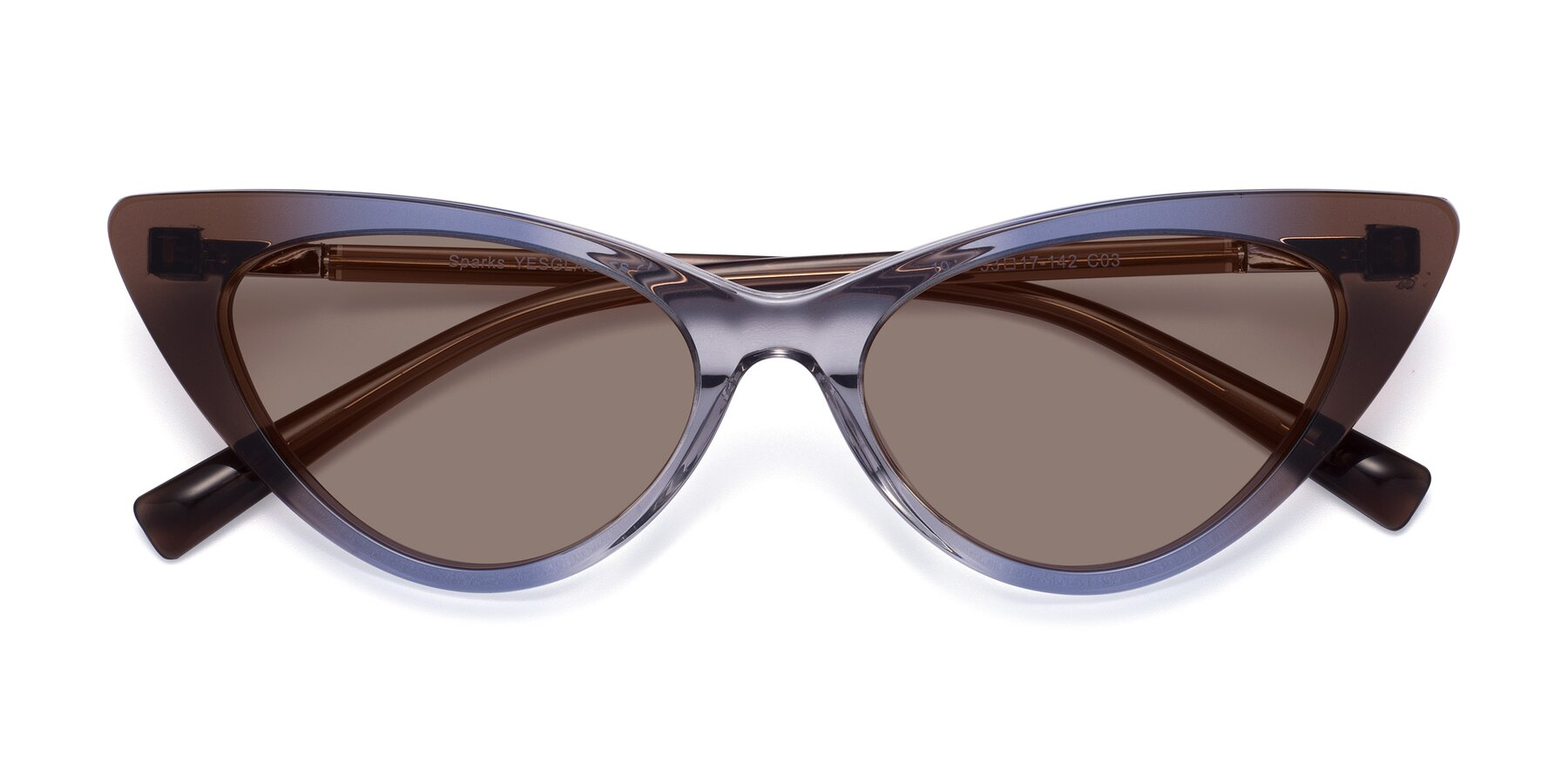 Folded Front of Sparks in Transparent Gradient Brown with Medium Brown Tinted Lenses