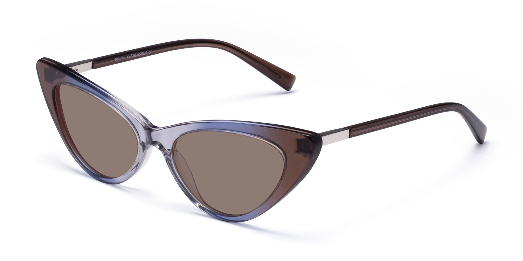 Angle of Sparks in Transparent Gradient Brown with Medium Brown Tinted Lenses