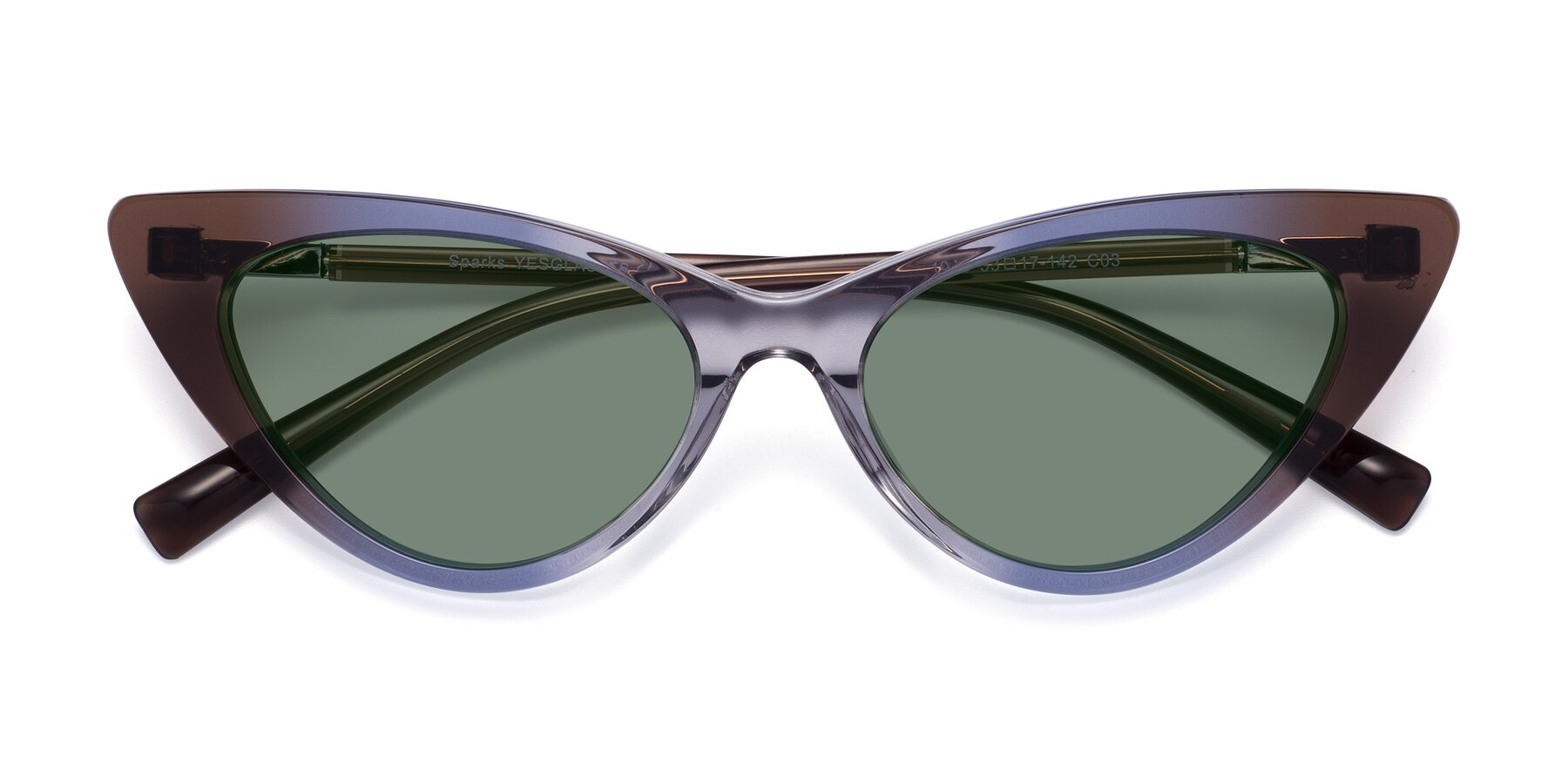Folded Front of Sparks in Transparent Gradient Brown with Medium Green Tinted Lenses