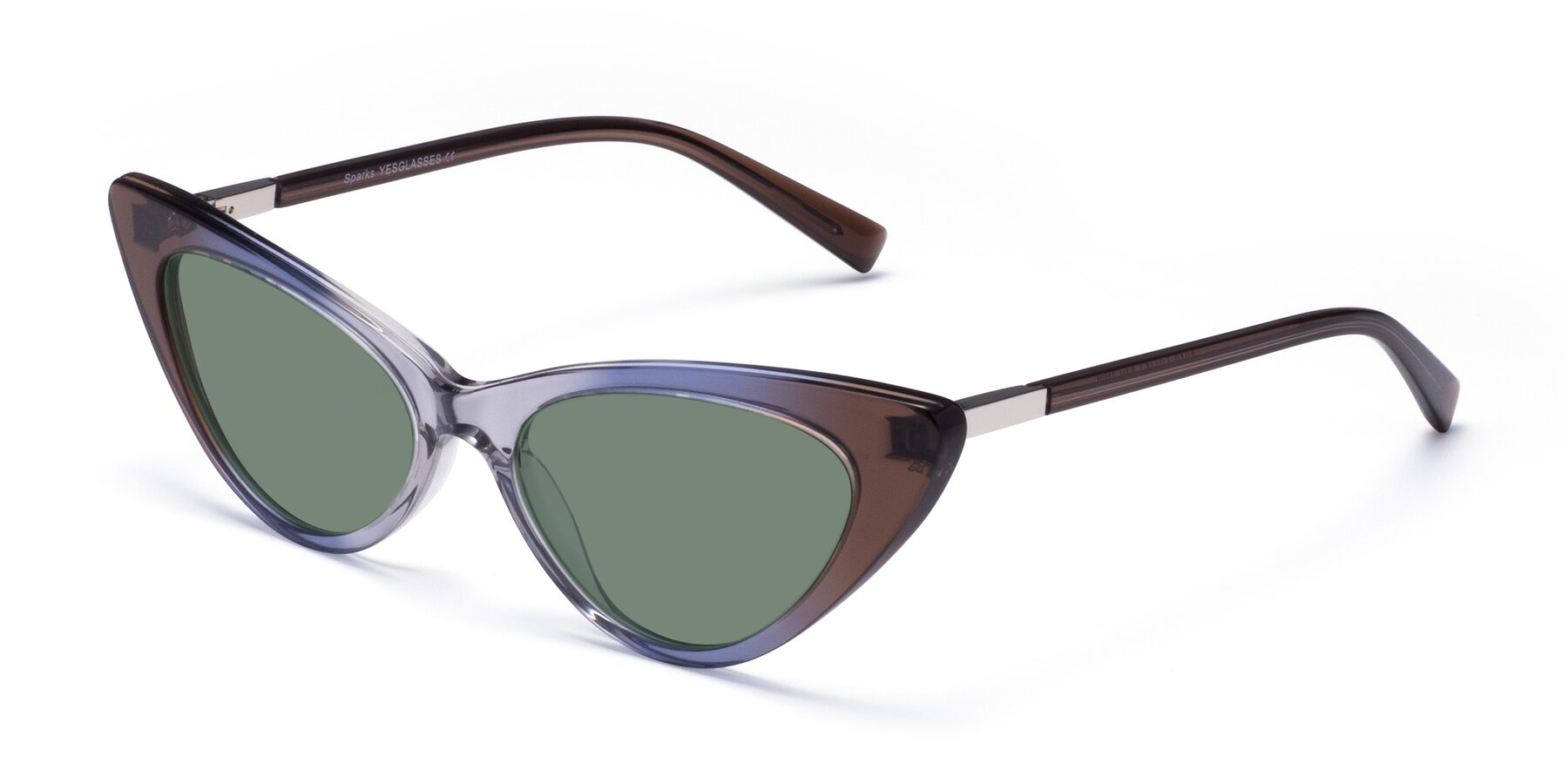 Angle of Sparks in Transparent Gradient Brown with Medium Green Tinted Lenses