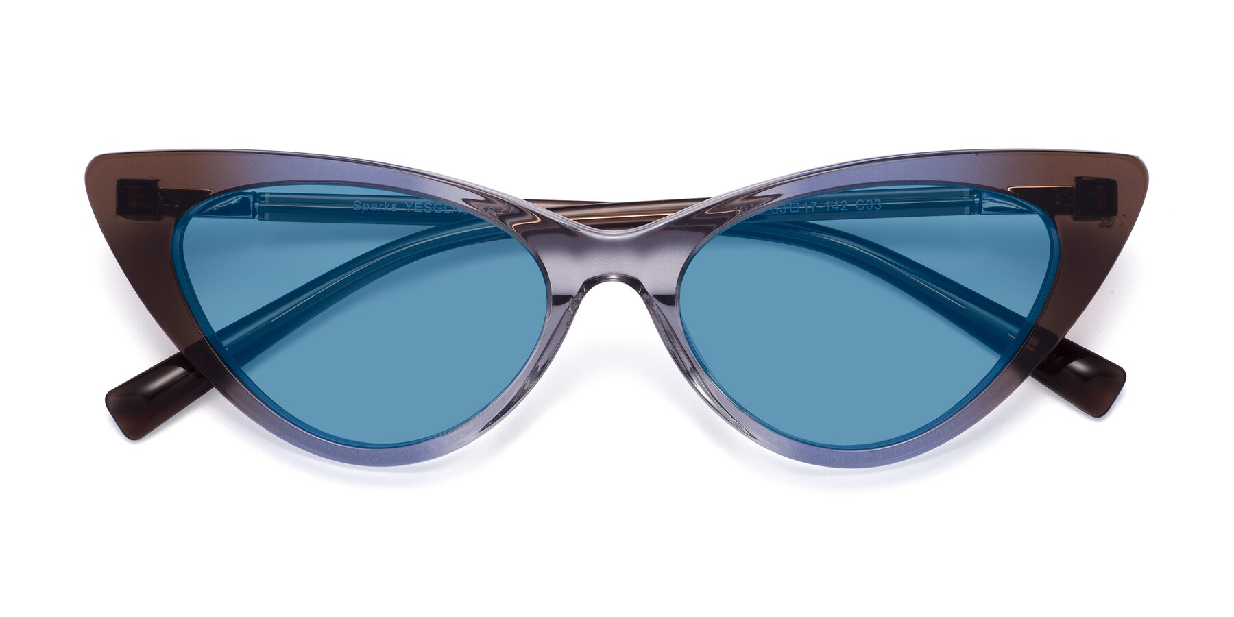 Folded Front of Sparks in Transparent Gradient Brown with Medium Blue Tinted Lenses